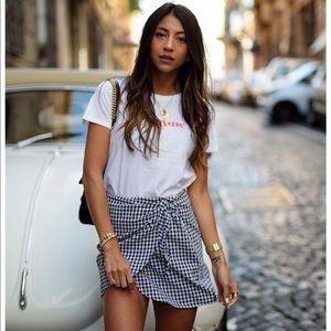 Madewell gingham side tie wrap mini skirt